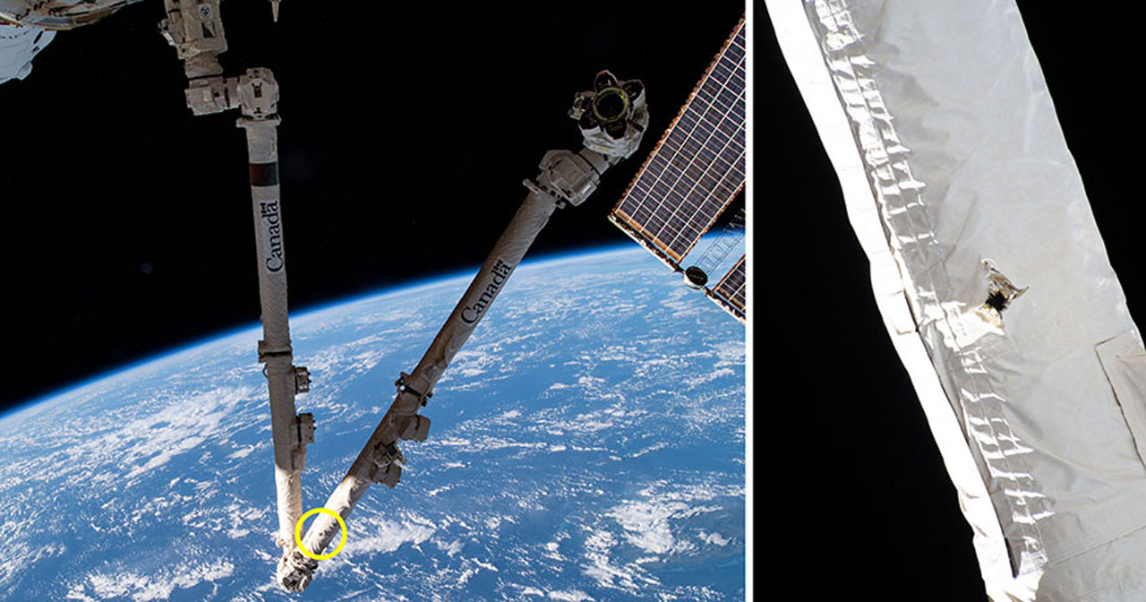 ISS Canadarm2 Robot Arm Survives Impact with Orbital Debris