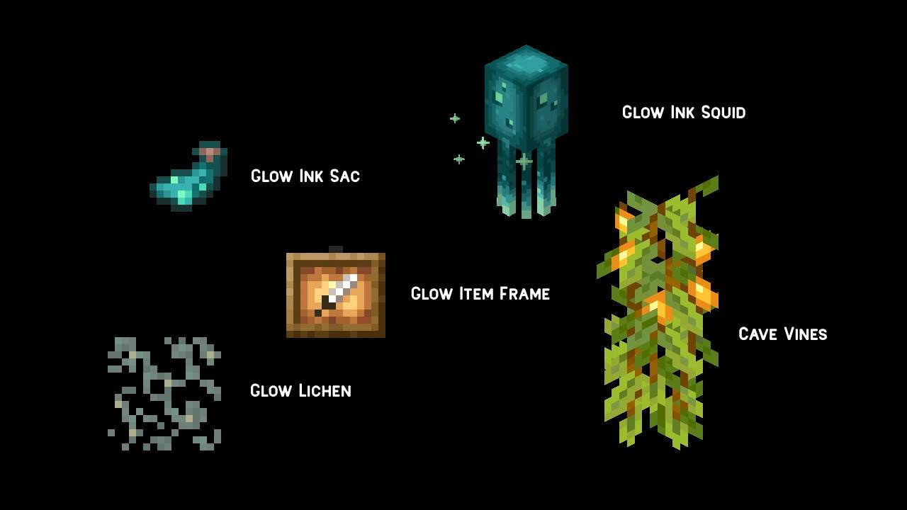 """Today we peek at the Minecraft cave & cliffs update: Part I, and some new ways you can now emit light. There is a new cave wine, for example, planted by Berry Glow. They are not brighted by a torch and grow down, from the bottom of the block. To use the following items and / or find the item in the game, you must get Minecraft updates. This is Minecraft version 1.17.0, aka CAVES & CLIFFS: Part I. This update must live now for all platforms that still receive software support from Mojang. You can eat berries shining - they don't make you shine, but they just fill like sweet fruit. You can use Berry Glow to lure changes and grow foxes. They don't make light foxes, as far as we know, but they help in breeding foxes. Berry light can be planted at the bottom of a solid block. Not all blocks are solid, but mostly. Vines Cave grew down, and can be climbed! Cave planting has the potential to grow berries shining. If Vine I grew a berry shining, it shines! Cave Vines with berry glow hanging from blocks and growing down, can rise, and emit light. You can foster cave wine with bone flour. If you fertilize cave wines (who don't have a berry shine) with bone flour, it's likely they will grow a glowing berry. You can find Berry Glow in Mineshaft Chest Minecarts - weird! Another dim light source that appears in Cave Minecraft & Cliffs: Part I is the light of moss. You can find the Lichen Clow on the cave wall and the block side on the underground lake. Glow Lichen can be harvested with scissors, and """"spread along the block surface"""" with bone flour! Minecraft Winner Live 2020 Mob sound is a light squid. This strange and beautiful mob is in Minecraft on all platforms now, jam is packed with light ink bags. If you combine light ink bags with frame items in your craft table, you get a light item frame. Bright light item frame - very bright! But for now, it doesn't really emit light in the same way with a torch or moss light. Whatever you put in the light item frame will turn on, but i"""